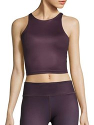 Vie Active Diana Back Cutout Crop Tank Top Black Cherry