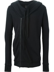 Thom Krom Off Centre Zipped Hoodie Black