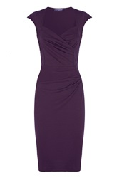 Hotsquash Short Sleeved Dress In Clever Fabric Damson