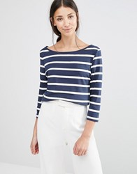 Vila 3 4 Sleeve Striped Top In Blue And White Total Eclipse W Whi