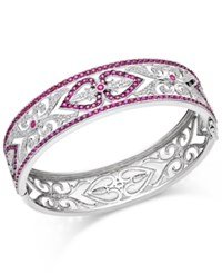 Macy's Ruby 3 1 2 Ct. T.W. And Diamond 1 4 Ct. T.W. Decorative Bangle Bracelet In Sterling Silver Red