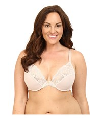 Natori Envious Full Figure Plunge Cut Sew Underwire 736133 Light Caf Ivory Women's Bra White