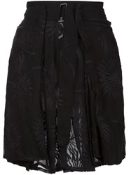 Ann Demeulemeester Sheer Embroidered Skirt Black