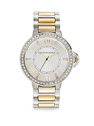 Saks Fifth Avenue Two Tone Stainless Steel Link Bracelet Watch Silver Gold