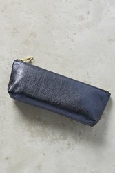 Anthropologie Jeweltoned Leather Pencil Pouch Blue