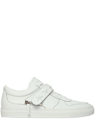 D S De Star Studs On Leather Sneakers White