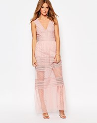 Millie Mackintosh Plunge Neck Maxi Dress With Sheer Inserts Pink