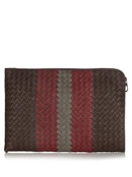 Bottega Veneta Intrecciato Large Grained Leather Document Holder Brown Multi
