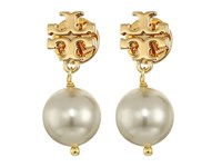 Tory Burch Crystal Pearl Drop Earrings Ivory Shiny Gold Earring