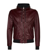 Dolce And Gabbana Leather Bomber Jacket Male Burgundy