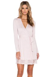 Only Hearts Club Venice Short Robe With Lace Hem Pink