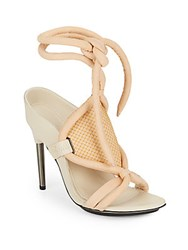 3.1 Phillip Lim Marquise Suede Open Toe Sandals Peach Oyster