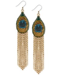 Lucky Brand Gold Tone Pave Peacock Long Fringe Drop Earrings