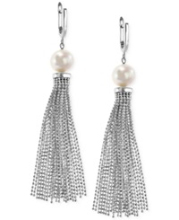 Effy Collection Effy Cultured Freshwater Pearl Tassel Drop Earrings In Sterling Silver 9 1 2Mm Black