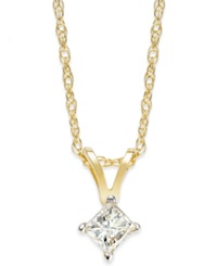 Macy's Princess Cut Diamond Pendant Necklace In 10K Gold 1 5 Ct. T.W.