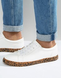 Asos Trainers In White With Leopard Print Sole White