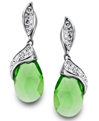 Kaleidoscope Sterling Silver Earrings Green Crystal Earrings With Swarovski Elements