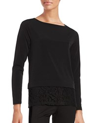 Michael Michael Kors Petite Lace Trimmed Long Sleeve Roundneck Knit Top Black