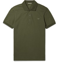 Bottega Veneta Slim Fit Cotton Pique Polo Shirt Green