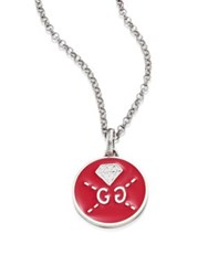 Guccighost Sterling Silver Round Diamond Pendant Red