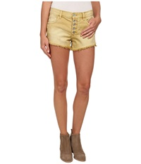 Free People Rugged Denim Runaway Cut Off Shorts Citrine Women's Shorts Yellow