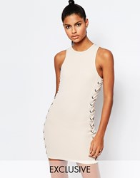 Story Of Lola Neoprene Mesh Bodycon Dress With Lace Up Detail Beige