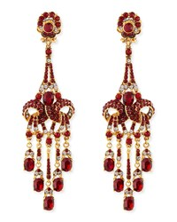 Gold Plated Red Crystal Chandelier Clip On Earrings Jose And Maria Barrera