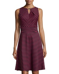 Donna Ricco Striped Sleeveless Fit And Flare Dress Black Fuchsia