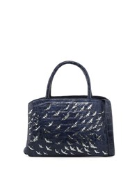 Nancy Gonzalez Painted Cranes Crocodile New Work Tote Bag Navy Anthracite Navy Anthracite
