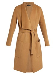 Joseph Tie Waist Wool And Cashmere Blend Coat Camel