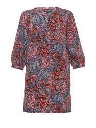 Saloni Gigi Plumage Print Silk Crepe Dress