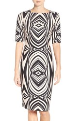 Gabby Skye Women's Geometric Print Scuba Body Con Dress