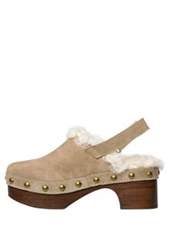 Mrandmrs Italy 45Mm Kalgan Shearling And Suede Clogs