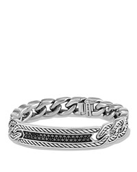 David Yurman Maritime Curb Link Id Bracelet With Black Diamonds Black Silver