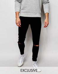Cheap Monday Exclusive Jeans Mid Spray Extreme Super Skinny Black Ripped Knee