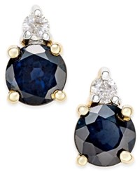 Macy's Sapphire 3 4 Ct. T.W. And Diamond Accent Stud Earrings In 14K Gold Yellow Gold