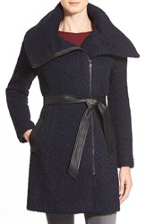 Women's Cole Haan Signature Belted Asymmetrical Boucle Wool Blend Coat