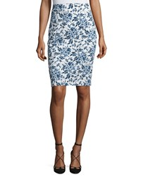 Carolina Herrera Toile De Jouy Pencil Skirt Navy White Women's Blue Floral