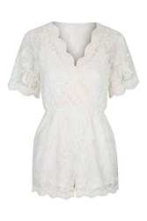 Lace Layer Playsuit By Glamorous Cream