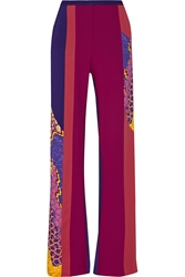 Peter Pilotto Os Color Block Printed Stretch Wool Wide Leg Pants
