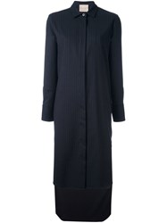 Erika Cavallini Pinstripe Shirt Dress Blue