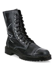 Moschino Trompe L'oeil Calf Leather Combat Boots Grey