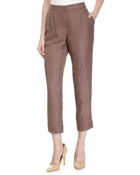 Escada Tapered Leg Cropped Pants Henna