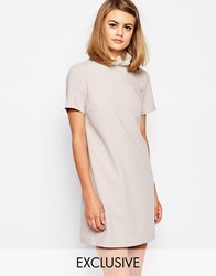 Reclaimed Vintage X Liquid Lunch Shift Dress With Collar Detail Mink