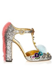 Dolce And Gabbana Block Heel Glitter Pumps Silver Multi