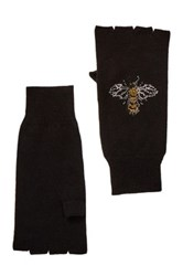 Autumn Cashmere Jewel Bees Fingerless Cashmere Gloves Black