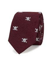 Peckham Rye Skull And Crossbones Silk Twill Tie Burgundy