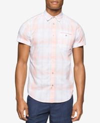 Calvin Klein Jeans Men's Ocean Air Plaid Short Sleeve Shirt Coral Pink