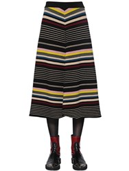 Antonio Marras Geometric Striped Wool Knit Skirt