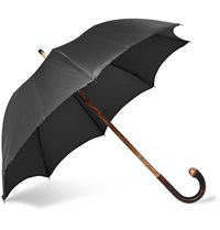 Francesco Maglia Lord Chestnut Wood Handle Twill Umbrella Black